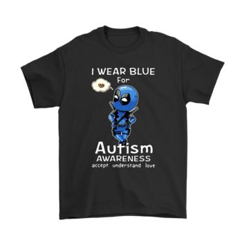 KUYOU I Wear Blue For Autism Awareness Chibi Marvel Deadpool Shirts