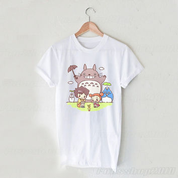 Totoro and Friends Studio Ghibli Black White Unisex T Shirt