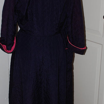 40s, 50s Robe, Dressing Gown, Quilted, Navy, Hot Pink Lining, Lucy, Full Skirt, Saybury? Perfect, Size S/M