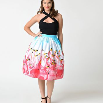 Unique Vintage 1950s Style Pink Flamingo Flock High Waist Swing Skirt