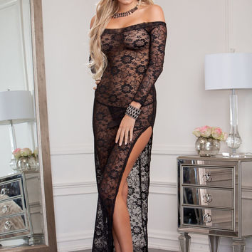 Off the shoulder long sleeve lace gown