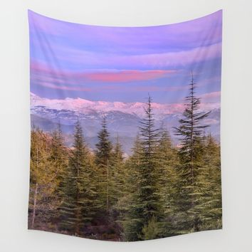 Mountains... pink sunset Wall Tapestry by Guido Montañés