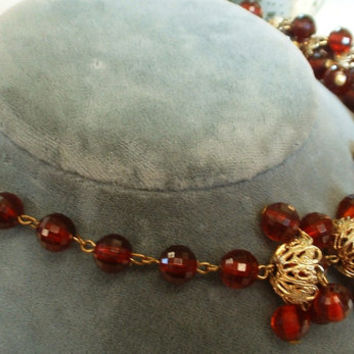 ART DECO Necklace 1930 Vintage Garnet Ruby Red Early Faceted Plastic Bead Golden Flillgree Cap Bead Handwired Exquisite & Rare