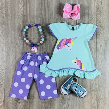RTS Teal & Lavender Mommy & Baby Unicorn Set D72