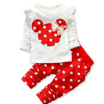 Minnie Mouse Long Sleeve Outfit (Multiple Colors)