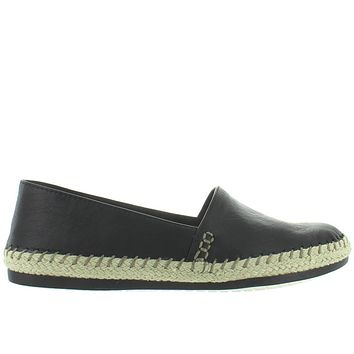 Adam Tucker Remi - Black Leather Slip-On Espadrille Loafer