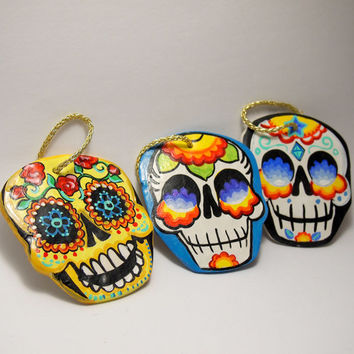 Dia de Los Muertos Decorations Set 3 Day of the Dead Sugar Skull Ornaments Hand made and painted by Bones Nelson