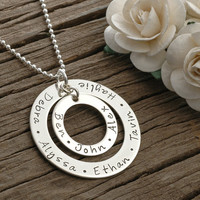 Large Family  - Personalized -  Double Washer Style Necklace - Sterling Silver