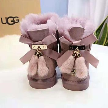 UGG Winter Fashionable Women Cute Bowknot Tassel Warm Wool Snow Boots