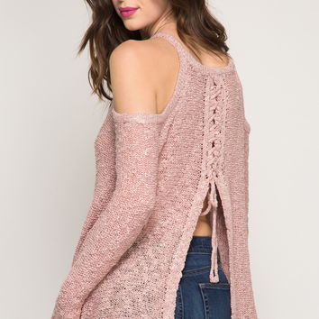 Rose Lace Up Cold Shoulder Sweater