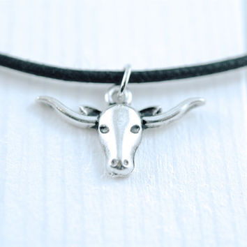 silver steer head choker necklace {fearless}
