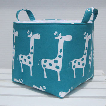 Fabric Organizer Bin Toy Storage Container Basket - Turquoise Blue - White Gisella Giraffe  - 8 x 8 x 8