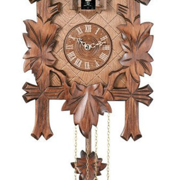 "14"" Traditional One Bird Cuckoo Clock Five Hand Carved Maple Leaves"