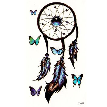 Romantic Dreamcatcher Temporary Tattoo Stickers Feather Decals Tattoo Body Art Waterproof fake tattoo flash tatoo sticker lolita