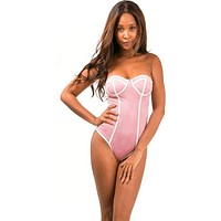 Women's Blush Suede Tube Body Suit