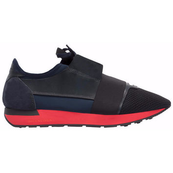 Balenciaga Red Sole Race Runner Sneaker Shoes Blue