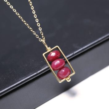 Ruby Necklace Gold Filled - Rectangle Geometric 14k Gold Ruby Jade Jewelry - Natural Faceted Ruby Jade Pendant