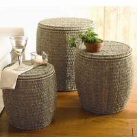 TAG Baskets Seagrass Storage Ottoman (Set of 3)