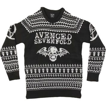 Avenged Sevenfold Men's  AVS Mens Ugly Christmas Sweater Sweatshirt Black
