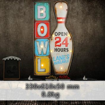 Family Friends party Board game Retro Industrial Style Bowling Welcome Sign Wall Decorations LED Lights Wrought Iron Murals Home Bar Iron Painting IY304125-31 AT_41_3