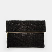 ASOS Suede Embossed Foldover Clutch Bag at asos.com