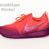 Women's Nike Roshe Run in Crimson/White/Grape with Swarovski crystal detail