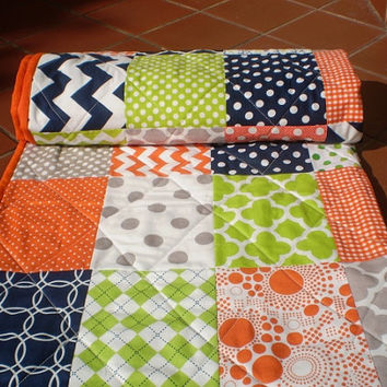 Nautical baby quilt,Baby girl quilt,Baby boy bedding,Crib quilt,navy blue,grey,orange,lime green,chevrons,modern,dots,Ocean mist with citrus