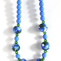 Blue Flower Beaded Necklace with Swarovski Crystals and Polymer Clay Beads, Fashion Jewelry