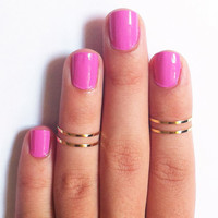 4 Above the Knuckle Rings  gold thin shiny rings  set by galisfly
