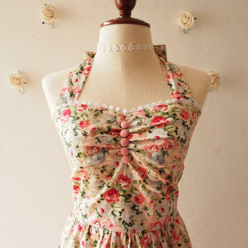 Sweet Summer Dress Vintage Floral Dress Pink Floral Sundress Vintage Inspired Tea Party Bridesmaid Dress Halter Sweetheart bust line, Custom