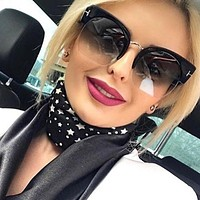 Newest Semi-Rimless Sunglasses Women Brand Designer Clear Lens