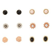 Rosette & Stone Stud Earrings - 6 Pack by Charlotte Russe - Multi