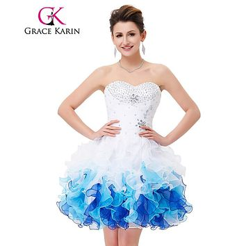 Grace Karin Short Prom Dress 2017 Sweetheart Beadings Sequins Ball Gown Robe de Cocktail Cheap Party Prom Special Occasion Dress