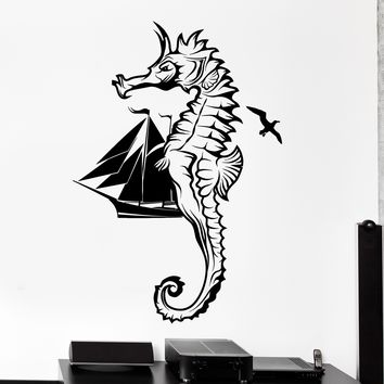Wall Vinyl Decal Yacht Ship Seahorse Birds Ocean Home Interior Decor Unique Gift z4173