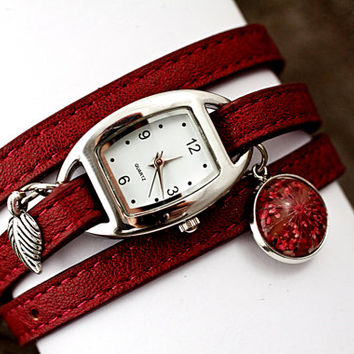 RED Wrap Watch with real dried flowers - dark red nappa leather with stainless steel watch and flower and leaf charm. Jewelry for her.