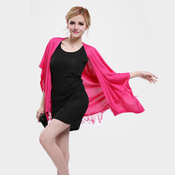 Women Female 5 Solid Color Long Style Fashion Cardigan Shrug Jumper of Cotton with Tassel Fringe Changable Scarf Tippet Shawl