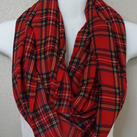 Silky Red Plaid Infinity Scarf Womens Fashion Accessories Fall Fashion Scarf Back to School Infinity Scarves Plaid Circle Scarf