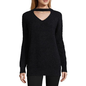 Arizona Fuzzy Cut Out Neckline Sweater-Juniors - JCPenney