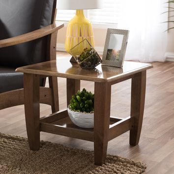 Baxton Studio Pierce Mid-Century Modern Walnut Finished Brown Wood End Table Set of 1