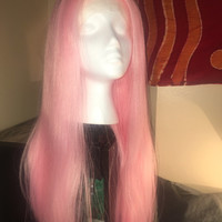 Pink Synthetic Drag Wig Heat Resistant Hair Bubblegum Color Lace front long cosplay