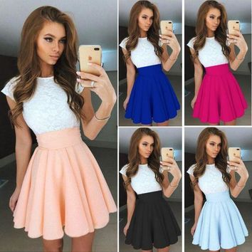 ESBONC. Chu Even 2017 Summer Dress Elegant Women Vestidos O-Neck Office Dress Short Sleeve Plus Size Bodycon Slim Party Lace Dresses