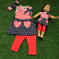 2016 new baby girls kids 4th of July summer red and navy blue capri striped outfits with american doll sets matching bow