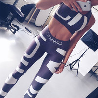 2017 Women's Fashion Print Casual Sports Yoga Tops Bottoms Set [10320691910]