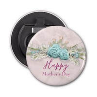 Blue Roses and Crown Floral Bouquet Mother's Day Bottle Opener