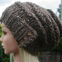 Hand Knit hat- Women's hat- Brown tweed-slouchy- beanie- winter hat with 3 small coconut buttons- Rustic Mega Chunky with wool