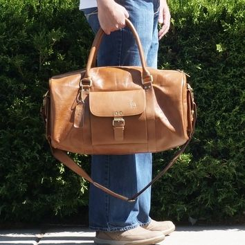 "Weekender Leather Duffel Bag 19"" For Men"