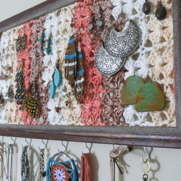 Jewelry Frame/Organizer-Crochet Wall Art-Earring Holder-Necklace Hooks-Repurposed