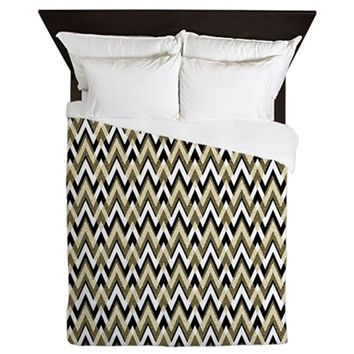 BLACK AND GOLD CHEVRON ELEGANCE QUEEN DUVET