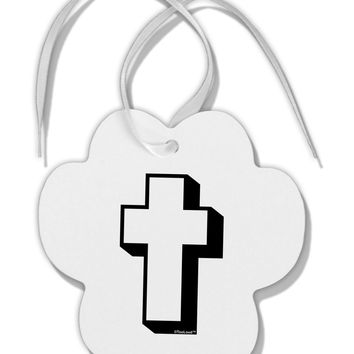 Simple Cross Design Black Paw Print Shaped Ornament by TooLoud
