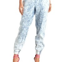 Acid Wash Denim Jogger Pants by Charlotte Russe - Acid Wash Denim
